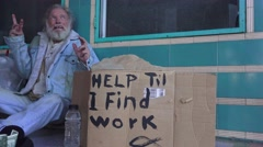 Homeless, fighting demons, vagrant, - stock footage