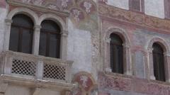 Trento, Italy - Palazzo Quetta Alberti-Colico Decoration Detail Stock Footage