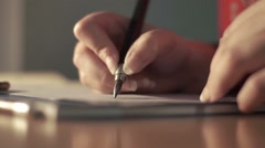 Female artist drawing with graphite Stock Footage