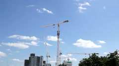 Giant construction cranes Stock Footage
