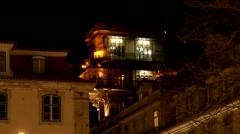 4K Portugal Lisbon Lisboa Elevator de Santa Justa at night Stock Footage
