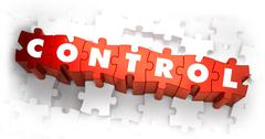 Control - White Word on Red Puzzles Stock Illustration
