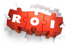 ROI - White Word on Red Puzzles Stock Illustration
