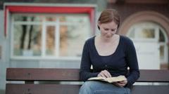 Christian Devotional - Woman Reading Stock Footage