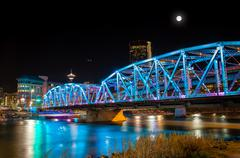 Stock Photo of Full Moon Over Langevin Bridge in Downtown Calgary