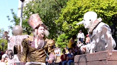 The Lost Wheels of Time performed by Serious Clowns from United Kingdom, Germany Stock Footage