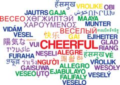 Cheerful multilanguage wordcloud background concept - stock illustration