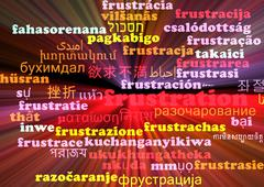 Frustration multilanguage wordcloud background concept glowing - stock illustration
