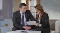 Woman sales manager convincing client businessman to buy product Stock Footage