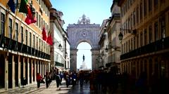 Portugal Lisbon Lisboa Tram passing Arco da Rua Augusta - stock footage