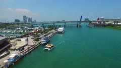 Aerial Bayside Port Miami 4k video Stock Footage