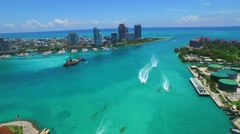 Aerial Miami Beach inlet Stock Footage