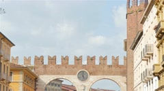 Verona old main gate  tilt 4k Stock Footage