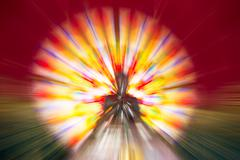 colorful radial motion blur abstract of buddha statue - stock illustration