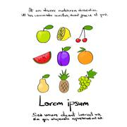 Fruit Collection Hand Draw Logo Color Stock Illustration