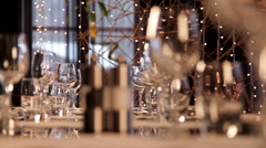 Restaurant Table Set for Many Persons Stock Footage