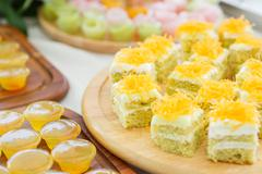 delicious thai dessert with cake set - stock photo