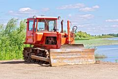 Stock Photo of Bulldozer red
