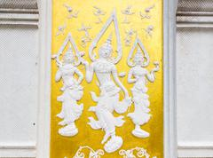 thailand style white angel bas-relief - stock photo