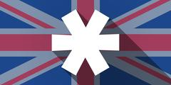 United Kingdom flag icon with an asterisk Stock Illustration