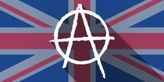 United Kingdom flag icon with an anarchy sign Stock Illustration