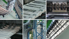 Collage of newspapers printing. Machine print daily paper press Stock Footage