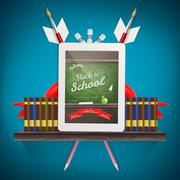 Tablet pc with books. EPS 10 Stock Illustration