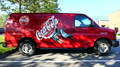 CocaCola delivery van, colorful company logo Stock Footage