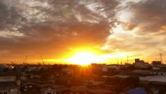 Beautiful sunrise over the city skyline, Timelapse. Stock Footage