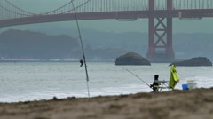 Baker Beach Fishing Stock Footage