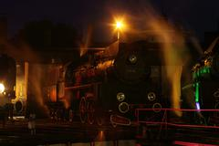 Steam locomotive in the night basis Stock Photos
