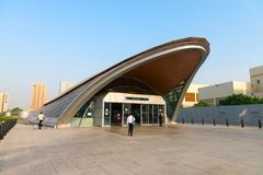 DUBAI, UAE - 16 JULY 2014: Sleek, modern styling is evident at the entrance t - stock photo