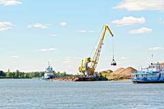 Crane river with sand - stock photo