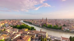 Verona skyline cityscape at the sunset timelapse 4k Stock Footage