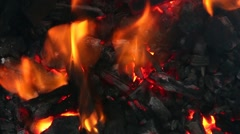 Close Up Of Coal and Wood Fire Burning Logs Engulfed In Flames Stock Footage