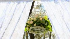Wedding set up. outside wedding ceremony, celebration. wedding aisle. Stock Footage