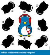Childrens puzzle - match the shadow to the penguin Stock Illustration