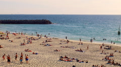 People Enjoying Spring at Cottesloe Beach in Perth, Western Australia Stock Footage