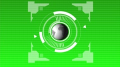 Animation of a futuristic  hud whith globe green Stock Footage