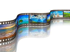 Photo film with travel images on white Stock Illustration