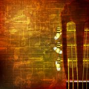 abstract grunge background with acoustic guitar - stock illustration