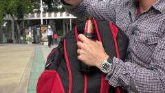 Beer in Student Bookbag Stock Footage