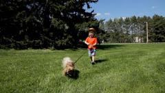 Little child boy walking with dog in spring park Stock Footage