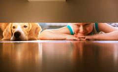 Boy with doggy friend looks under the bed Stock Photos