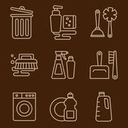 Vector Icons Cleaning - stock illustration