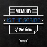 """Quote typographical background """"Memory is the scribe of the soul"""" - stock illustration"""