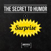 "Quote typographical background ""The secret to humor is surprise"" - stock illustration"