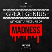 "Quote typographical background ""There is no great genius without a mixture of - stock illustration"