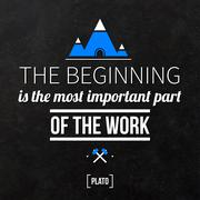 "Quote typographical background ""The beginning is the most important part of t - stock illustration"