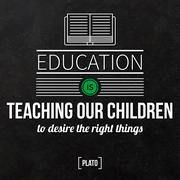 "Quote typographical background ""Education is teaching our children to desire - stock illustration"